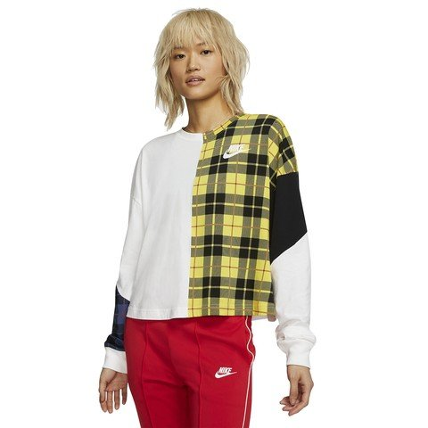 Nike Sportswear NSW Long-Sleeve Checked Top Kadın Sweatshirt