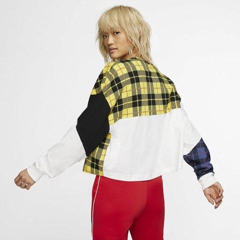 Nike Sportswear NSW Long-Sleeve Checked Top Kadın Tişört