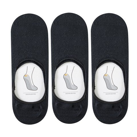 Barçın Basics Slikonlu (3 Pair) Babet Çorap